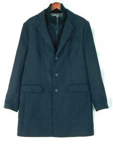 Jos. A Banks Men's Black Wool Blend Coat Size XL Zip Up Bib Perfect Condition!