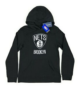 Brooklyn Nets NBA Fanatics Mens Small Black Midweight Pullover Hoodie Sweatshirt