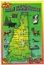 NEW HAMPSHIRE MAP   POSTCARD  LNH-156  NEW  WITH 3 PHOTOS ON BACK