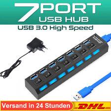7 Port USB 3.0 Hub Splitter mit Aktiv einzelnen Power Schalter LEDs Netzteil