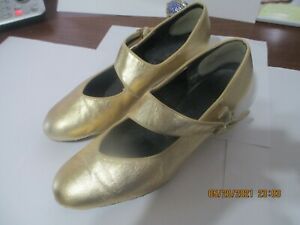 """Dance Shoes Womens """"Tic-Tac-Toe"""" GOLD- Wide Strap Square/Round Dance. sz 8"""