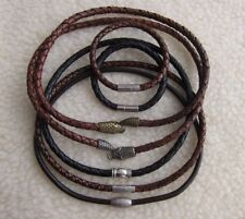 Men's Genuine Top Quality Braided  4-6 mm Leather Necklaces with Various Clasps.