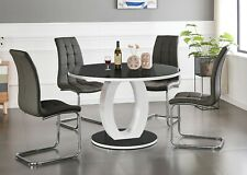 GIOVANI Round Black White Gloss Glass Dining Table Set and 4 6 Leather Chairs