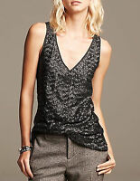 NWT Banana Republic New $59.50 Women Black Sequin-Front Tank Size PS, PM