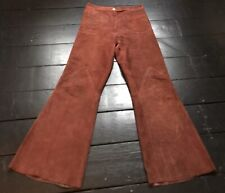 vintage 70s burning man rust leather suede boho hippy rock chic flared jeans