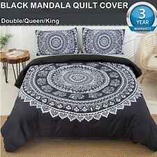 Black Mandala Quilt Cover Set Queen/King/Double Size Bed New Duvet Doona Cover