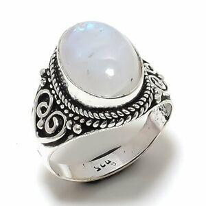 Rainbow Moonstone Ethnic Handmade Gemstone Gift Jewelry Ring Size 8 RL-20112