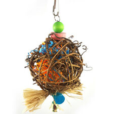 KF_ Parrot Chewing Toy Rattan Ball with Paper Strips for Budgie Parakeet Bird