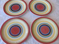 Mainstays Home- Sonoma Stripes- Multi-color Stripes- Set of 4 Dinner Plates- New