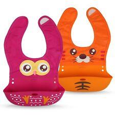 Premium Lätzchen für Babys aus weichem Silikon - mit Auffangschale - abwaschbar