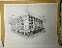 "RARE D. Van Den Hoogen Lithograph Drawing Print Calgary ""Hudson Bay Store"" RARE"