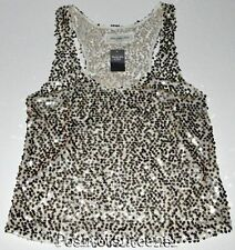 Abercrombie and Fitch Womens Tank Top Medium Sequin Gold Semi-Sheer New kg1