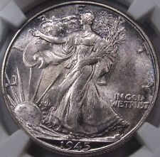 1945-S Walking Half Dollar. NGC MS65. Nice Luster with toning. Great Eye Appeal.