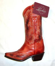 "Lucchese I4806 Aubrey Size 5B Womens Western 12"" Leather Boots LIPSTICK RED NEW"