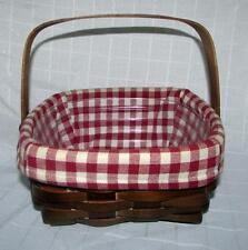 Canadian Maple Basket Heritage Mint Red Gingham Liner - Plastic Insert Handle