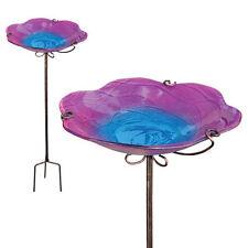 Bird Baths Glass - Birdbath/Feeder w/Stake - Pink - Regal Art & Gift 11389