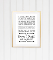 Ed Sheeran Perfect lyric personalised gift a4 print VALENTINES GIFT Engagement