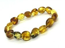 AMBER BRACELET Natural BALTIC AMBER Yellow Honey Beads Elastic Jewelry 10g 11725