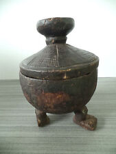 "KUBA BOX LID CONGO AFRICA HAND CARVED WOOD GEOMETRIC SMALL 3 LEGS 10"" Tall x 7""W"