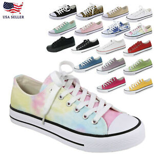New Women's Canvas Low Top Casual Fashion Lace Up Shoe Slip On Slide Sneakers