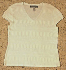 Jones New York Rayon / Nylon V-Neck Cap-Sleeve Knit Blouse - White - Size Large