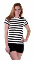 Ladies Womens Stripped Shirt Fancy Dress Stripe Short Sleeve Cotton T Shirts