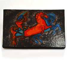 Mid Century Modern German Horses Tile marked #269 Ruscha signed on reverse side