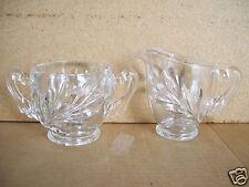 Vintage Indiana Clear Glass No Lid  Sugar Bowl  & Creamer