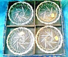 Set of 4 CRYSTAL COASTERS Bohemia Glass Vintage Made in Czechoslovakia Pinwheel