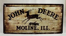 LARGE Embossed John Deere Wood Effect Advertising Tin Plate Sign 25cm x 50cm