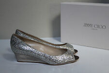 sz 5 / 35 Jimmy Choo Bergen Light Bronze Glitter Sandal Peep Toe Low Wedge Shoes