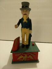 Vintage Uncle Sam Durable Plastic Mechanical Coin Drop Bank, Made in Hong Kong