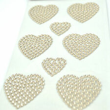 Rhinestone Hearts Shape Stick on Crystal Self Adhesive Decal Craft Sticker