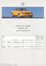 2044MB Mercedes SLK Preisliste 1997 21.9.97 price list 200 230 Kompressor R 170