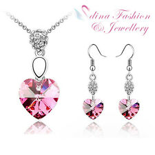 18K White Gold Plated Made With Genuine Swarovski Crystal Lovely Pink Heart Set