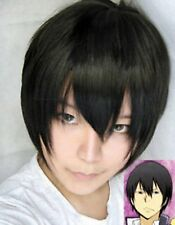 Fashion Men Boy Cosplay Reborn Hibari Black Straight Short Hair Anime Full Wigs