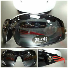 PADDED Choppers MOTORCYCLE RIDING Biker SUN GLASSES GOGGLES Black & Red Frame
