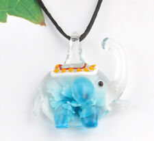 fashion 1pc lovely elephant Lampwork Glass bead pendant Necklace p865_5