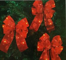 Bow Garland LED Lighted Mini 3 Count Red Lights Holiday Christmas Decorations
