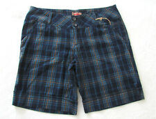 No Boundaries Juniors Size 13 Bermuda Shorts Blue Brown Plaid Cotton NEW NWT