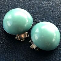 Clip On Earrings Vintage Retro Gogo 1960s Style Circular Round Blue Turquoise