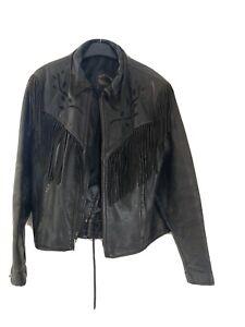 Vintage western ladies Fringe Black leather jacket Cowboy