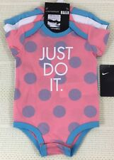 NIKE Baby 3 Pack Bodysuits 3-6 Months Coral White Blue Cotton Spots