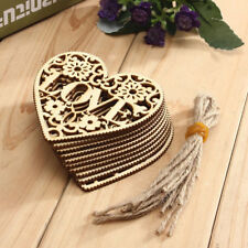 10Pcs LOVE Heart Wooden Embellishments Crafts Christmas Tree Hanging Party Decor