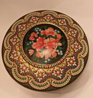 Container Embossed Mosaic-Look Vintage Dutch Metal Cookie Holland Tin