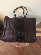 VALENTINO GARAVANI VTG JEWEL LARGE Tote BROWN PEBBLED Leather Bag