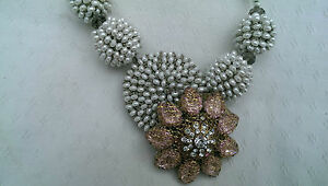 PEARL NECKLACE with Crystals FLOWER