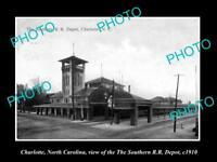 OLD LARGE HISTORIC PHOTO OF CHARLOTTE NORTH CAROLINA, THE RAILROAD STATION c1910