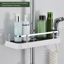 ADJUSTABLE BATHROOM SHOWER CADDY SHELF POLE RACK BATH STORAGE HOLDER ORGANISER