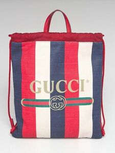 Gucci Red/White/Blue Striped Canvas Drawstring Backpack Bag